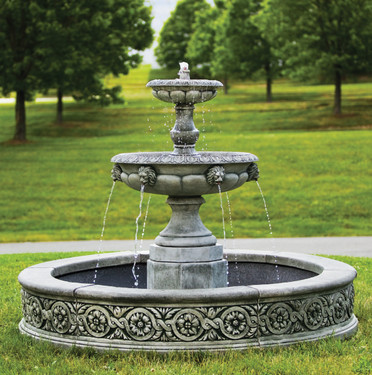 Parisienne Two-Tier Fountain (Cast Stone in Alpine Stone finish)