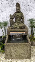 Antique Quan Yin Buddha Fountain (Cast Stone in aged limestone finish)