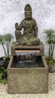 Antique Quan Yin Buddha Fountain (Cast Stone in aged limestone finish)