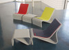 Sponeck Chairs and Table Footrests (Fiber cement in gray finish with optional felt covers)
