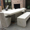 Aspen Bench with Slab Dining Table and Stone Dining Chairs (Fiberglass resin and aggregate in white stone finish)