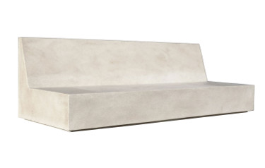 Macrolithe Bench (Fiberglass resin and aggregate in white stone finish)