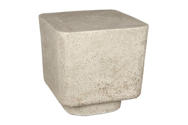 Big Block Stool (Fiberglass resin and aggregate in white stone finish)