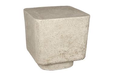 Big Block Stool (Fiberglass resin and aggregate in white stone finish)