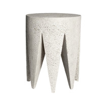 King Me Table Stool (Fiber resin and aggregate in white stone)