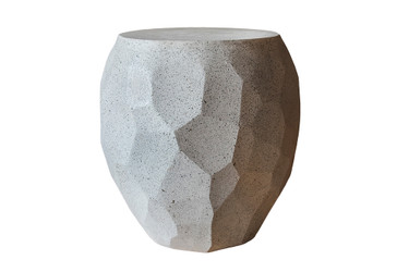 Facet Side Table (Fiberglass resin and aggregate in gray stone)