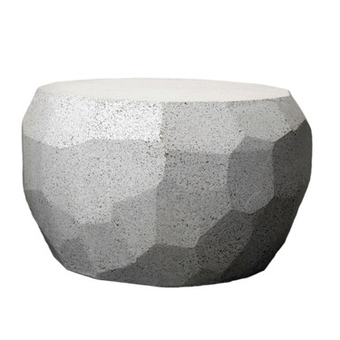 Facet Low Table (Fiberglass resin and aggregate in gray stone finish)