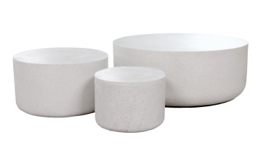 Mill Stone Cocktail Tables (Fiberglass resin and aggregate  in white stone)