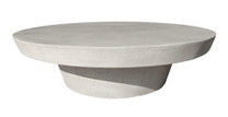 Cashi Round Coffee Table (Fiberglass resin and aggregate in white stone)