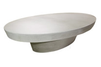 "Cashi 68"" Oval Coffee Table (Fiberglass resin and aggregate in white stone)"