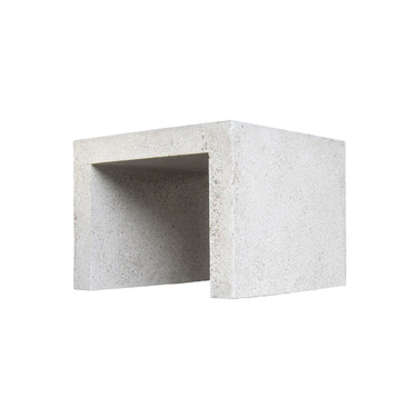Lynne Tell Side Table (Fiberglass resin and aggregate in white stone)