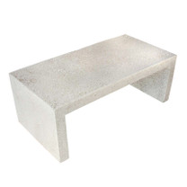 "Lynne Tell 48"" Coffee Table (Fiberglass resin and aggregate in white stone)"