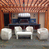 Lynne Tell Coffee Table with Van Dyke Armchairs and Loveseats (Fiberglass resin and aggregate in aged  stone)