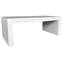 Lynne Tell Coffee Table (Fiberglass resin and aggregate in white stone)