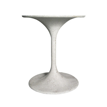 "Spindle Side Table 20.5"" Dia. (Fiberglass resin and aggregate in white stone)"