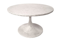 "Spindle Coffee Table 18""H (Fiberglass resin and aggregate in white stone)"