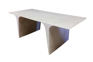 Theo Dining Table (Fiberglass resin and aggregate in white stone finish)