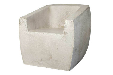 Van Dyke Armchair (Fiber resin and aggregate in white stone)