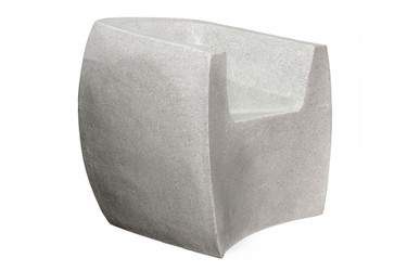 Van Dyke Curved Armchair (Fiberglass resin and aggregate in white stone)