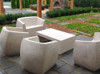 Van Dyke Love Seat and Armchairs with Lynne Tell Coffee Table (Fiberglass resin and aggregate in aged stone finish)