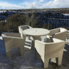Van Eyke Armchairs with Hive Table (Fiber resin and aggregate in white stone)