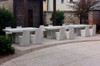 Stone Dining Chairs with Slab Dining Table (Fiberglass resin and aggregate in white stone)