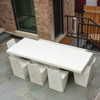 Stone Dining Chairs with Slab Dining Table Detail (Fiberglass resin and aggregate in aged stone)