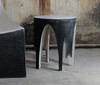 Corridor End Table (Fiberglass resin and aggregate in black and white finish)