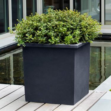 Bardo Square Garden Planters (fiberglass in black finish)