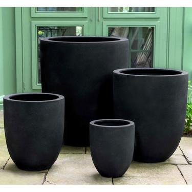 Bradford Garden Planter Set (fiberglass in black finish)