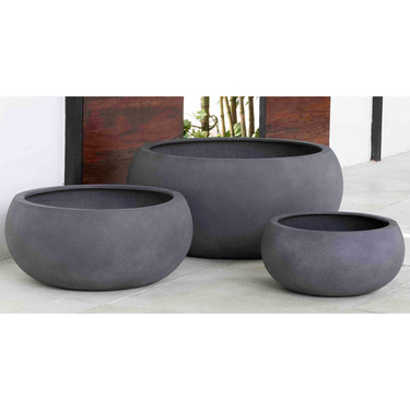 Chalmsworth Bowl Garden Planters (fiberglass in lead finish)