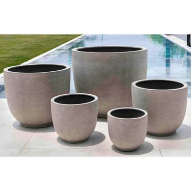 Danilo Planter Set (fiberglass in riverstone finish)
