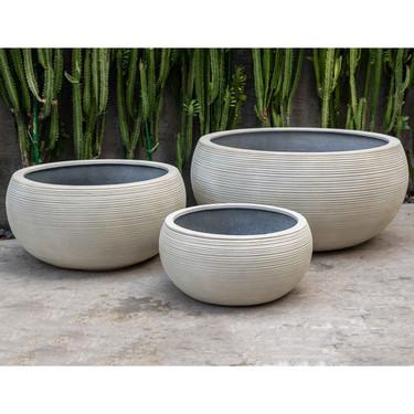 Exton Bowl Garden Planters (fiberglass in ribbed ivory finish)