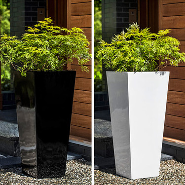 Farnley Gloss Planters (fiberglass in gloss black and white finishes)