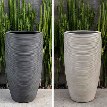 Glenmoore Planters (fiberglass in ribbed lead and ivory finishes)