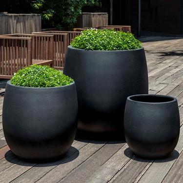 Guilford Planters (fiberglass in black finish)