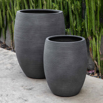 Haley Planters (fiberglass in ribbed lead finish)