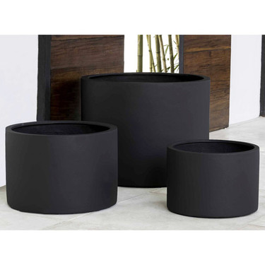 Kent Cylinder Planters (fiberglass in black finish)