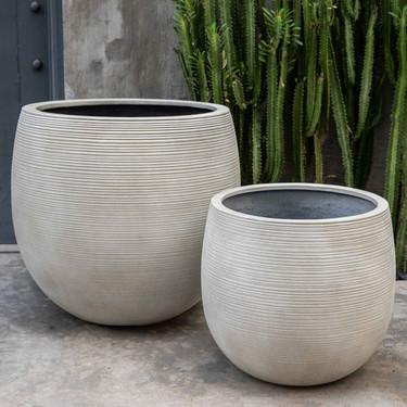 Marlton Planters (fiberglass in ribbed ivory finish)