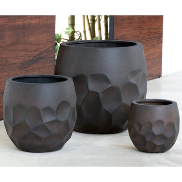 Prism Planters (fiberglass in rust finish)