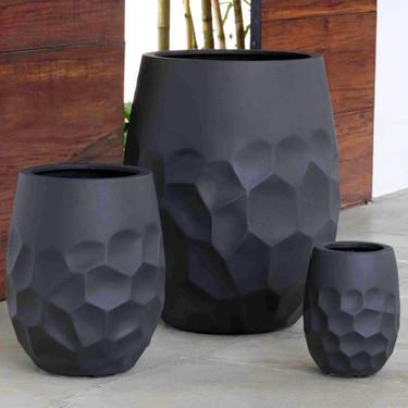 Tall Prism Planters (fiberglass in black finish)