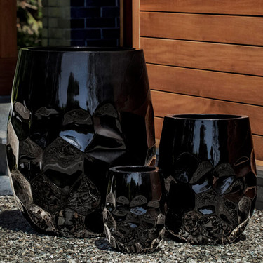 Tall Prism Planters (fiberglass in gloss black finish)