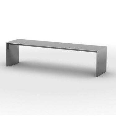 Bow Metal Bench: Polished Stainless Steel