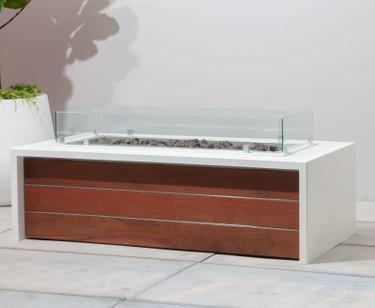Panel Fire Pit - IPE/Stainless - Linen White Aluminum