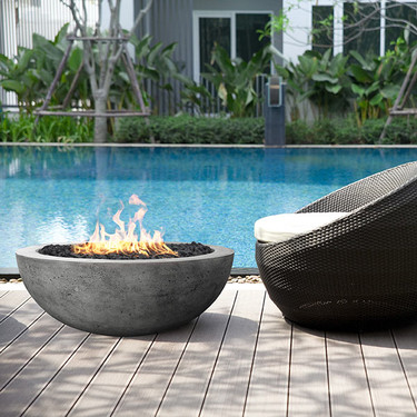 Moderno 4 Fire Bowl (glass fiber reinforced cement in pewter)