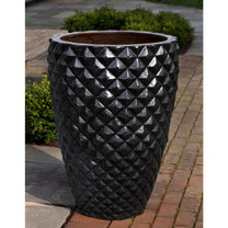 Faceted Planter (Terracotta in Rustic Black Glaze)