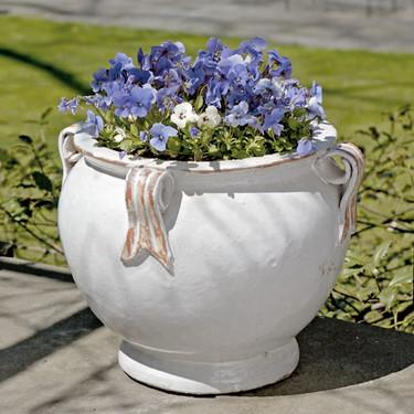 Round Handle Planter (Terracotta in Antique White Glaze)