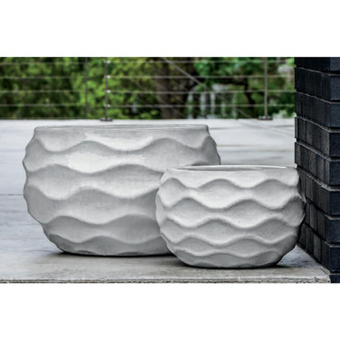 Low Rumba Planters (Terracotta in Snow White Glaze)