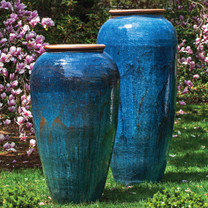 Sora Jar Planter (Terracotta in Rustic Blue Glaze)