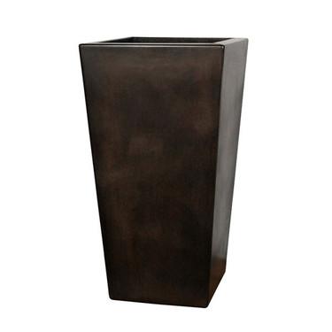 Geo Square Vase Planter (Glass-fiber reinforced concrete in Dark Walnut Perma Spec finish)